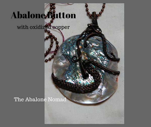 Abalone Button with Oxidized Copper Wire Weave