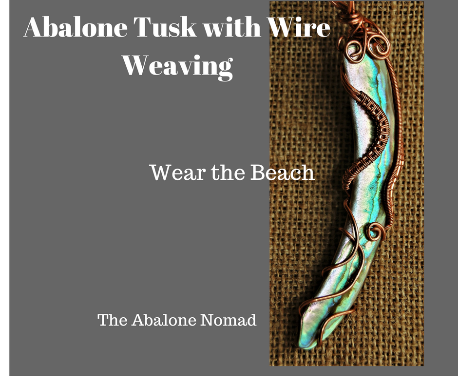 Abalone Tusk with Copper Wire Weaving and Wire Wrapping