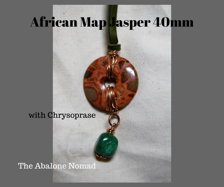 African Map Jasper in Bronze with Crysoprase Bead