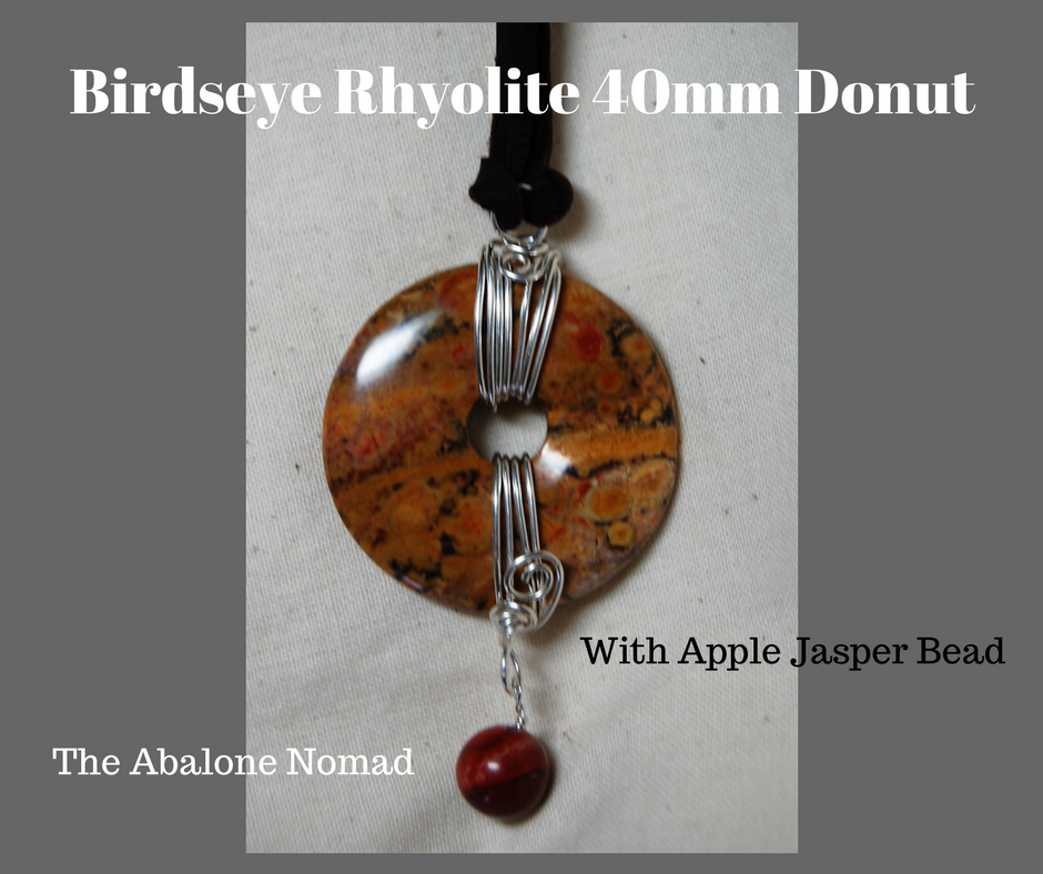 Birdseye Rhyolite 40mm Donut with Apple Jasper Bead