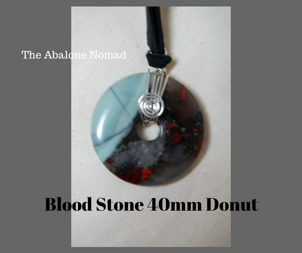 Blood Stone 40mm Donut with Argentium Silver Wire Wrapping