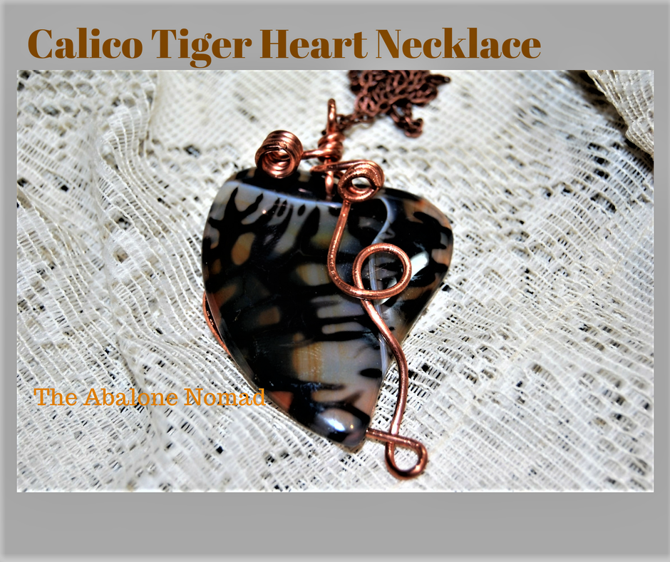 Calico Tiger Agate Heart Necklace