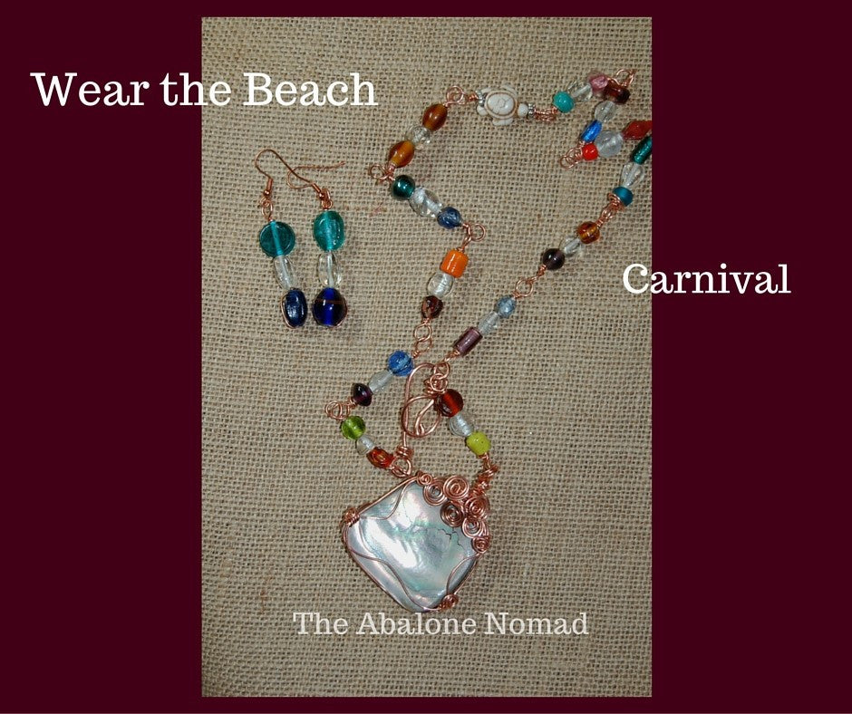 Carnival - A Glass Bead and Abalone Necklace