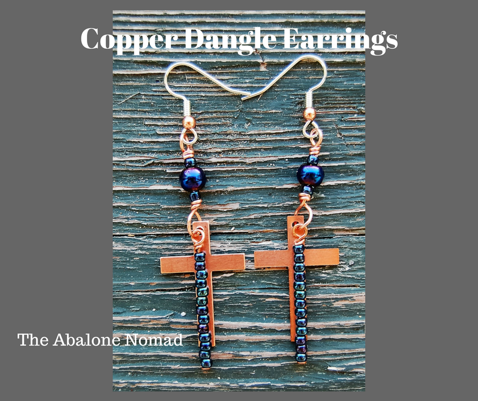 Copper Cross Dangle Earrings with Blue Glass Pearl