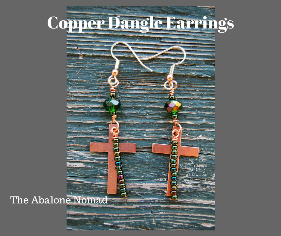 Copper Cross Dangle Earrings