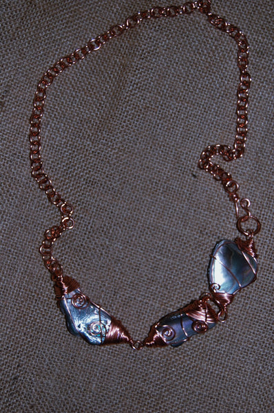 Wire Wrapped Abalone Link Necklace