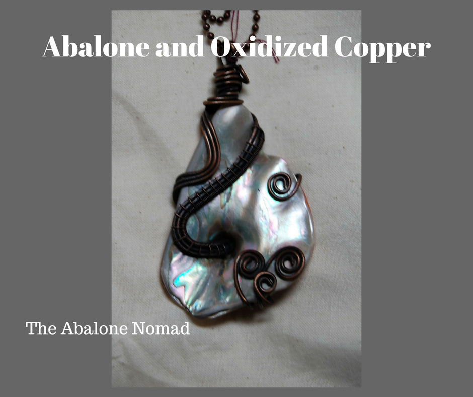 Pear Shaped Abalone Necklace with Oxidized Copper