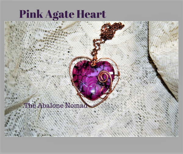 Wire Wrapped Magenta Pink Agate Heart