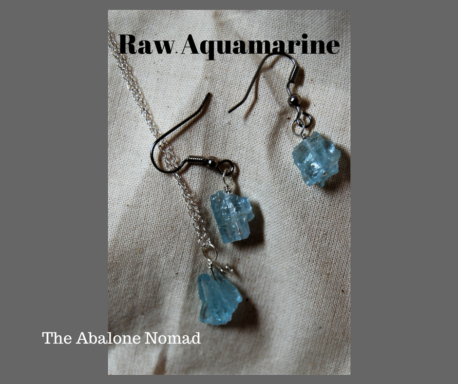 Raw Aquamarine with Sterling Silver and Surgical Steel Ear Wires