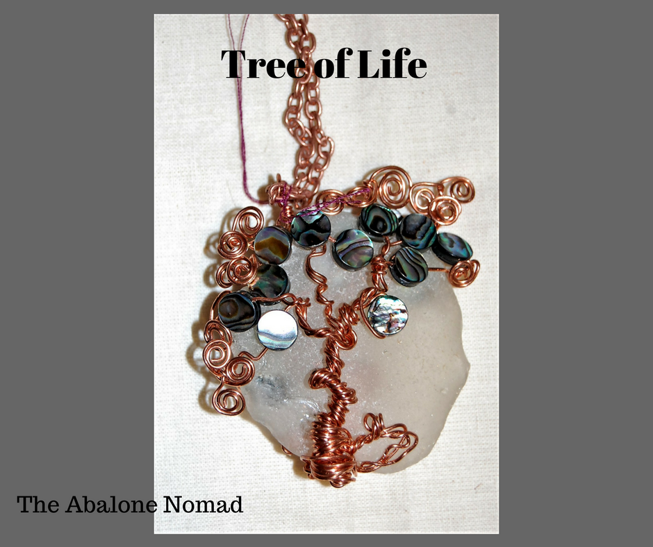 Tree of Life on Beach Glass -Reversible Necklace