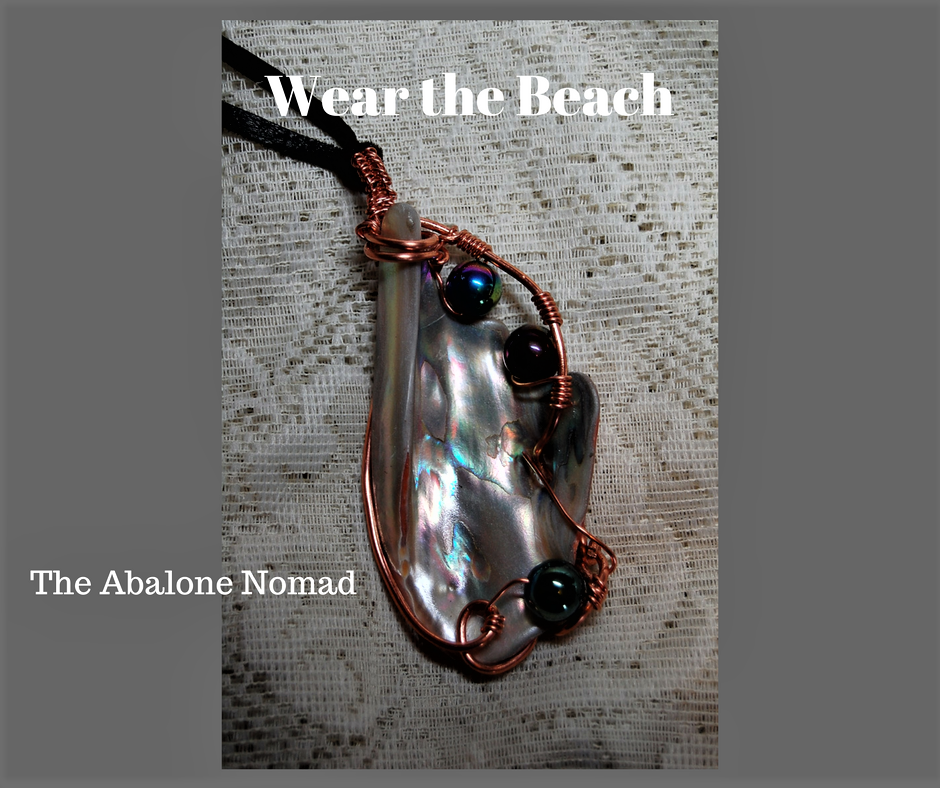 Wire Wrapped Abalone Necklace with Glass Pearls