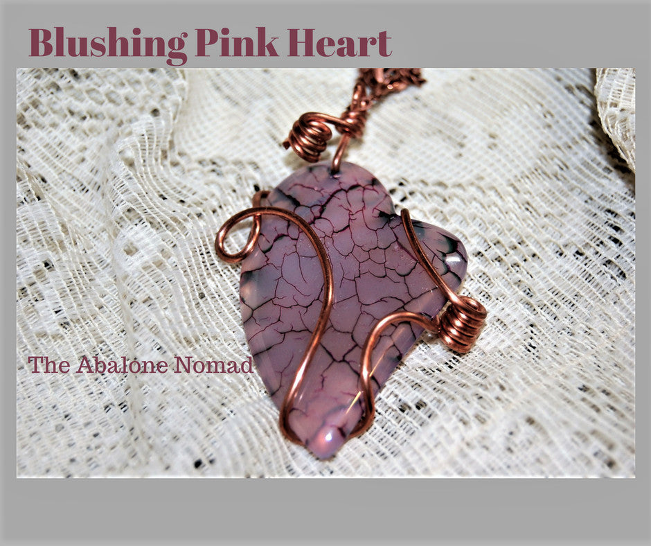 Wire Wrapped Pink Agate Heart