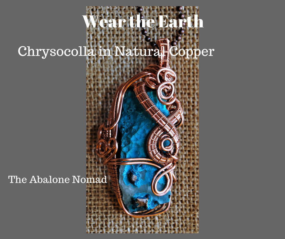 Chrysocolla wire woven necklac