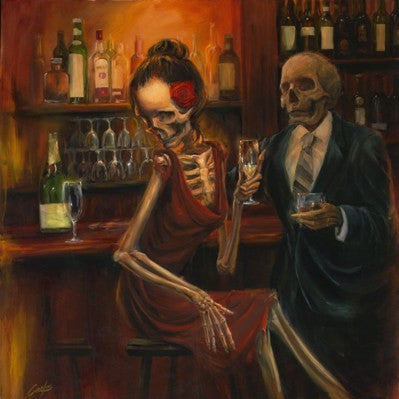 Oil Painting Of Skeleton Drinking At The Bar