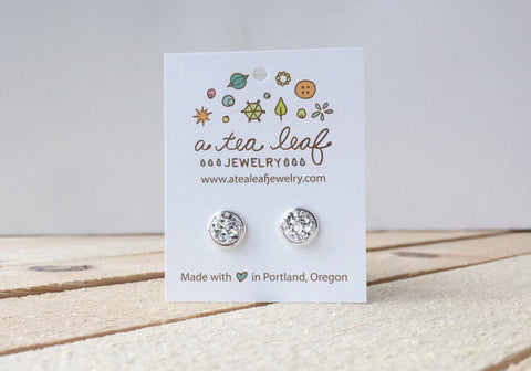 A Tea Leaf Jewelry - Bright Silver Druzy Crystal Earrings