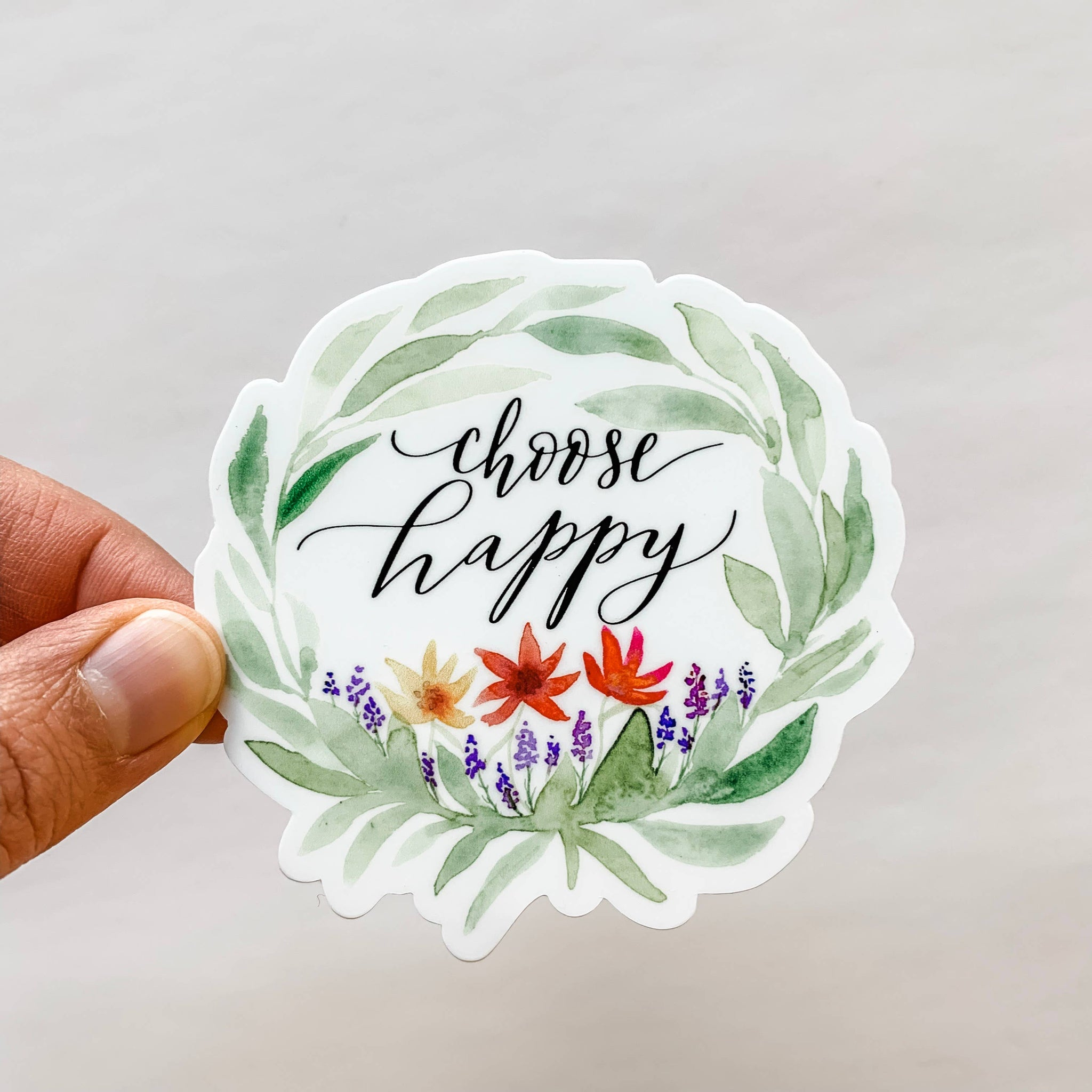 Wildflower Paper Company - Choose Happy Wreath Flower Sticker