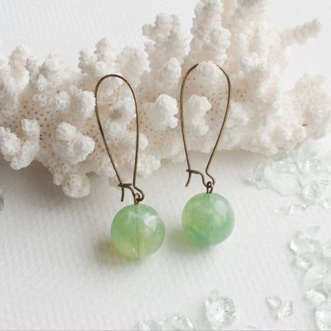 A Tea Leaf Jewelry - Light Green Jade Swirl Dangle Earrings