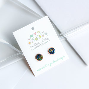 A Tea Leaf Jewelry - Blue Green Gold Orange Druzy Crystal Earrings