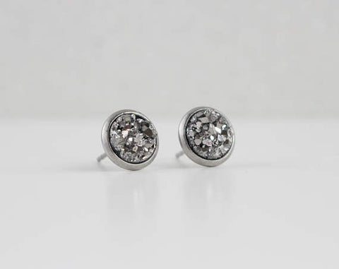 A Tea Leaf Jewelry - Dark Pewter Silver Druzy Crystal Earrings