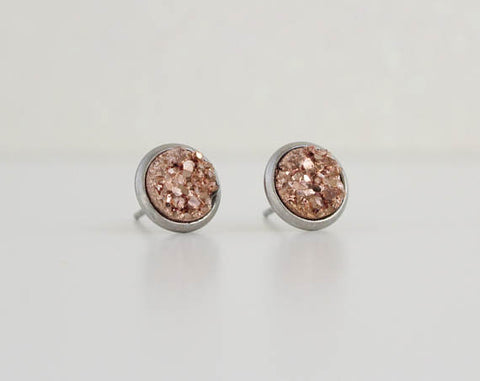 A Tea Leaf Jewelry - Copper Druzy Earrings