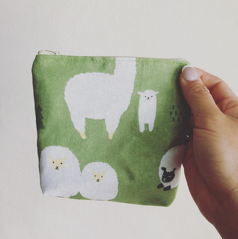Lamb and Sheep zipper pouch