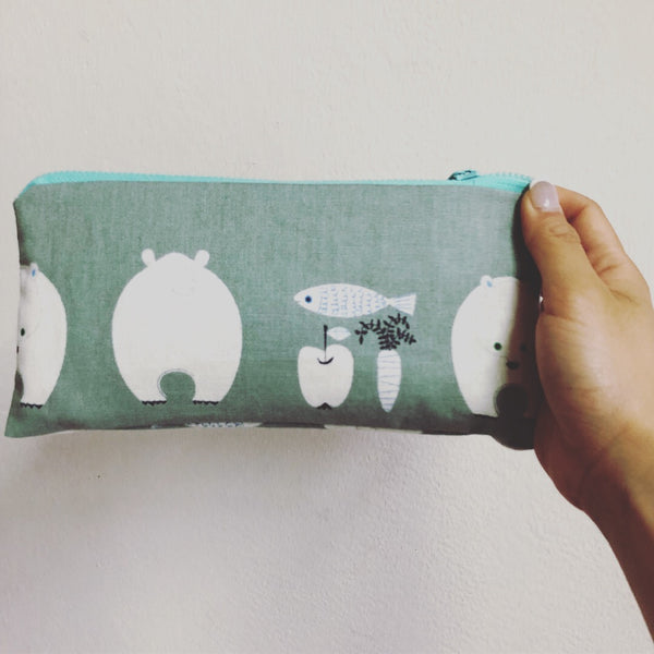 Bear, Fish, Carrot and Apple Pencil Pouch Cases