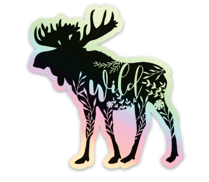 Moose Vinyl Sticker Holographic