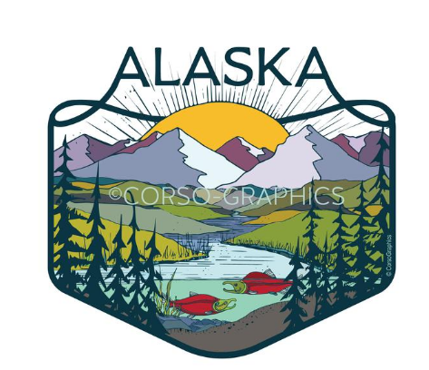Alaska Big Sun Vinyl Sticker