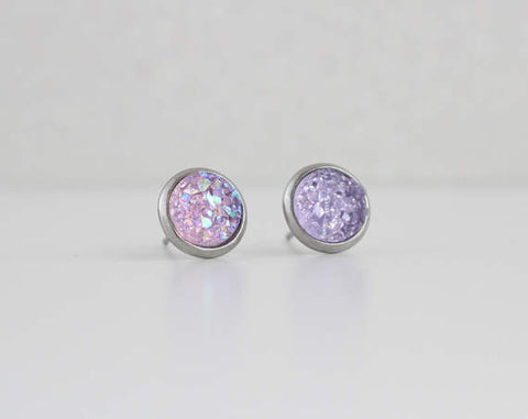 A Tea Leaf Jewelry - Soft Lavender Purple Druzy Crystal Earrings