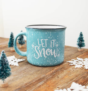 Pen & Paint - Let it Snow blue Christmas Holiday Mug Merry & Bright Cerami