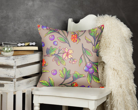 Blueberry and Salmonberry Pillow Grey