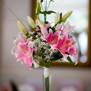 Lilies Bouquet in Tall Vase