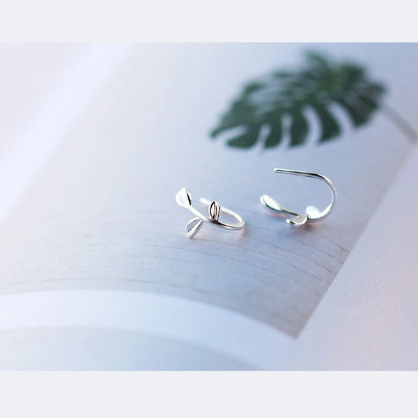 Sterling Silver Cute Tiny Leaf Earrings