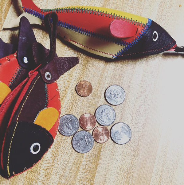 Leather Fish Coin Pouch