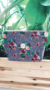 Antique Floral Zipper Pouch