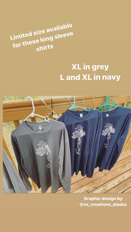 Tshirt-like material Sweatshirt Salmonberry Root with Kuskokwim River Map Design Unisex - Navy Blue Color