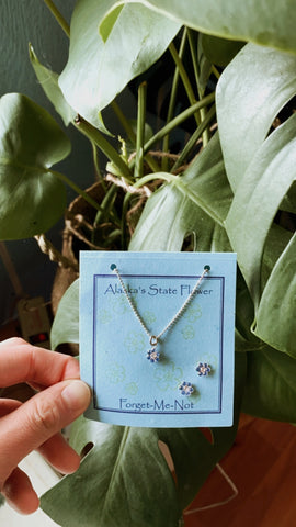 Forget Me Not Flower Earrings and Necklace Set