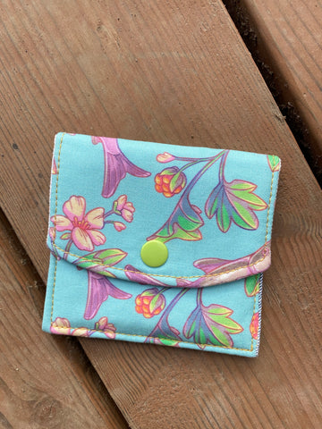 Snap On minimalist pouch or wallet (Aqua)