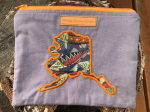 Salmon and Alaska State zipper pouch