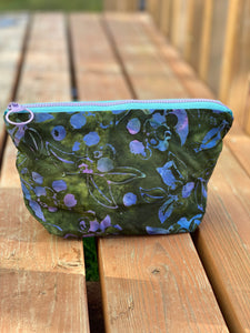 Blueberry batik print zipper pouch