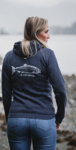 Summer Lightweight AK Wild Salmon Triblend Zipped Hoody