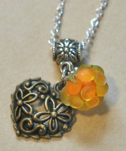 Lampwork Salmonberry Necklace