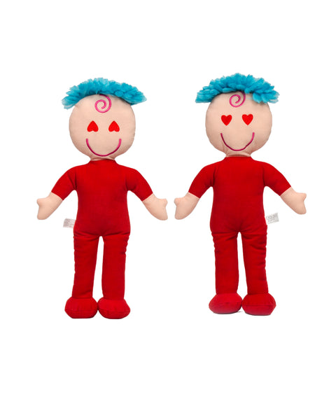 Baby Toys - Awake & Asleep Red Hearts Rag Doll - Double Face Doll 15""
