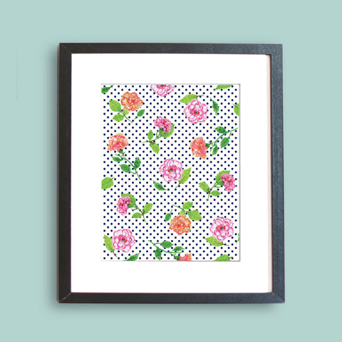 Carnation Polka Dot Pattern Art Print