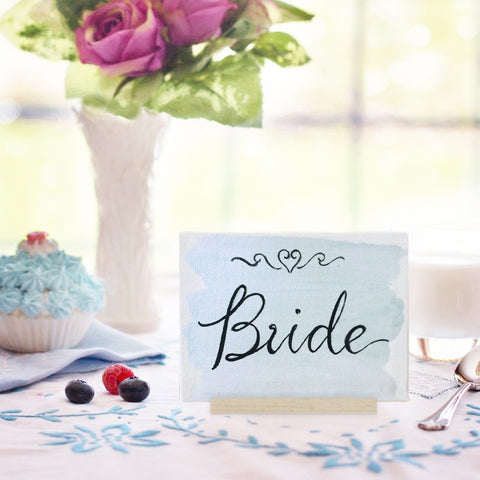 Hand-Painted Bride Canvas Sign