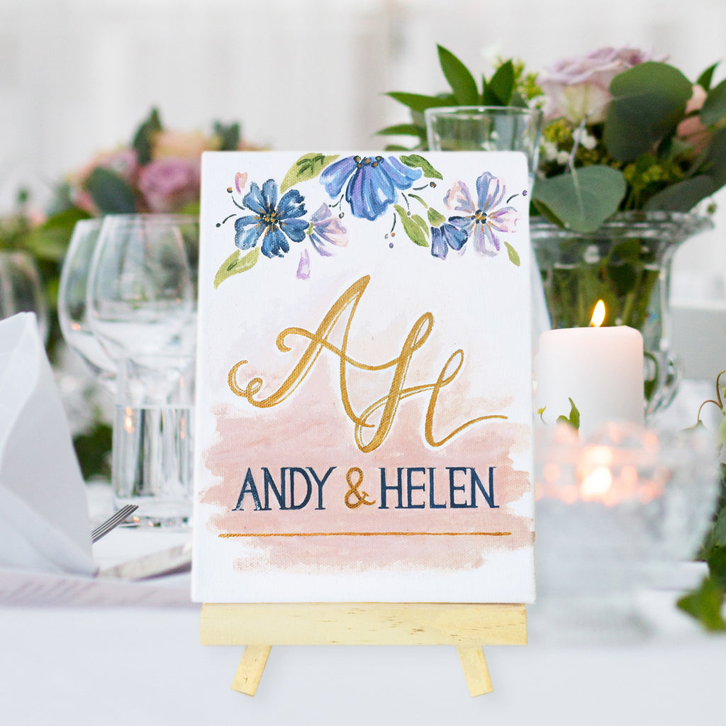 Hand-Painted Couple Canvas Sign