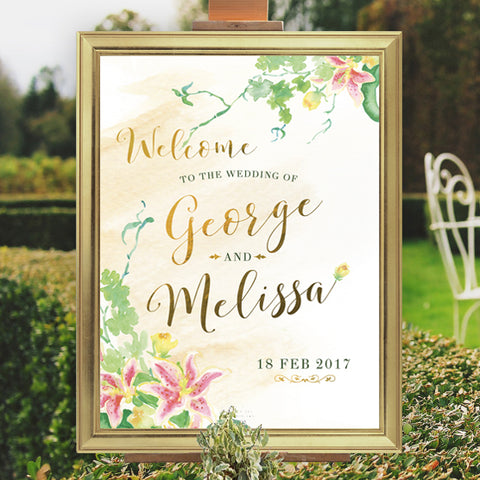 Elegant Floral Wedding Sign