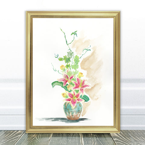 Lilies in a Vase Watercolour Art