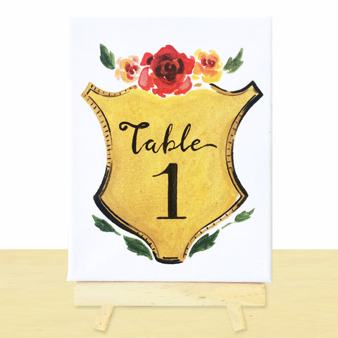 Hand-Painted Shield Table Number