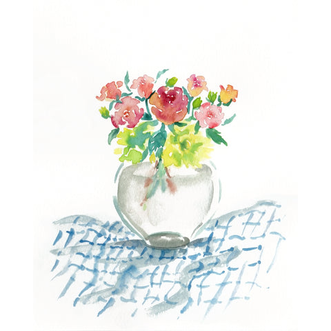 Roses in a Vase Watercolour Art